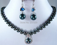Wholesale price FREE SHIPPING ^^^^^Real Black Pearl Blue Cubic Zirconia 18KWGP Clasp Pendant Necklace Earrings Set