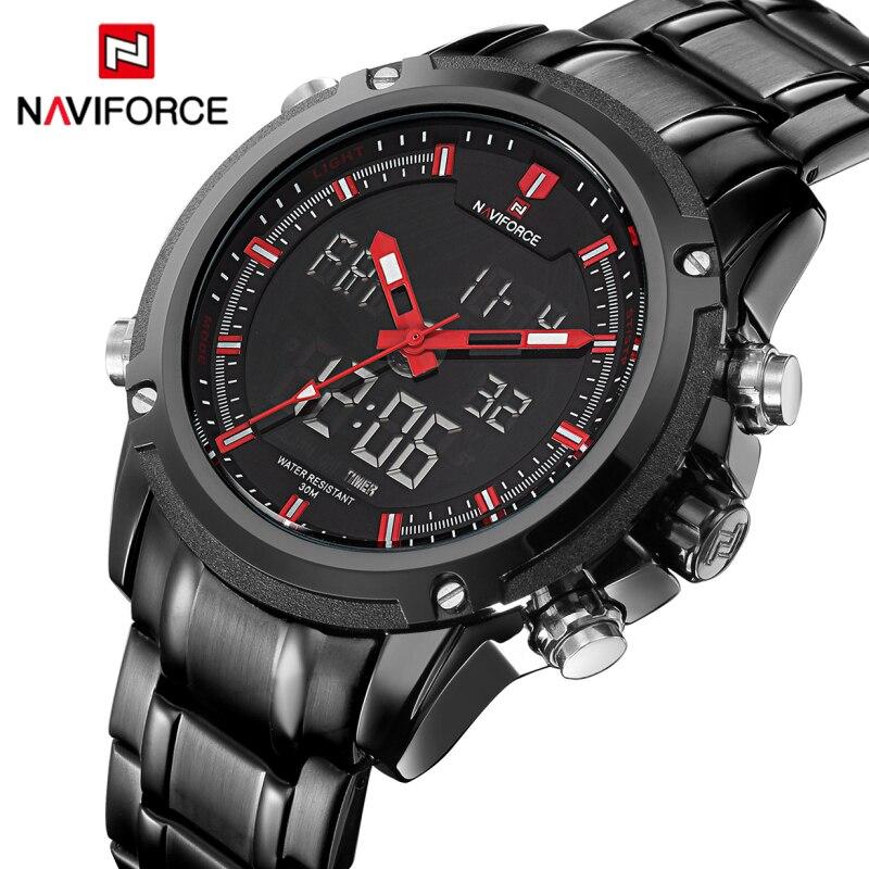 Dual-display-uhren Unparteiisch Top Luxus Marke Naviforce Männer Wasserdichte Sport Militär Uhren Männer Quarz Analog Digital Armbanduhr Relogio Masculino Herrenuhren