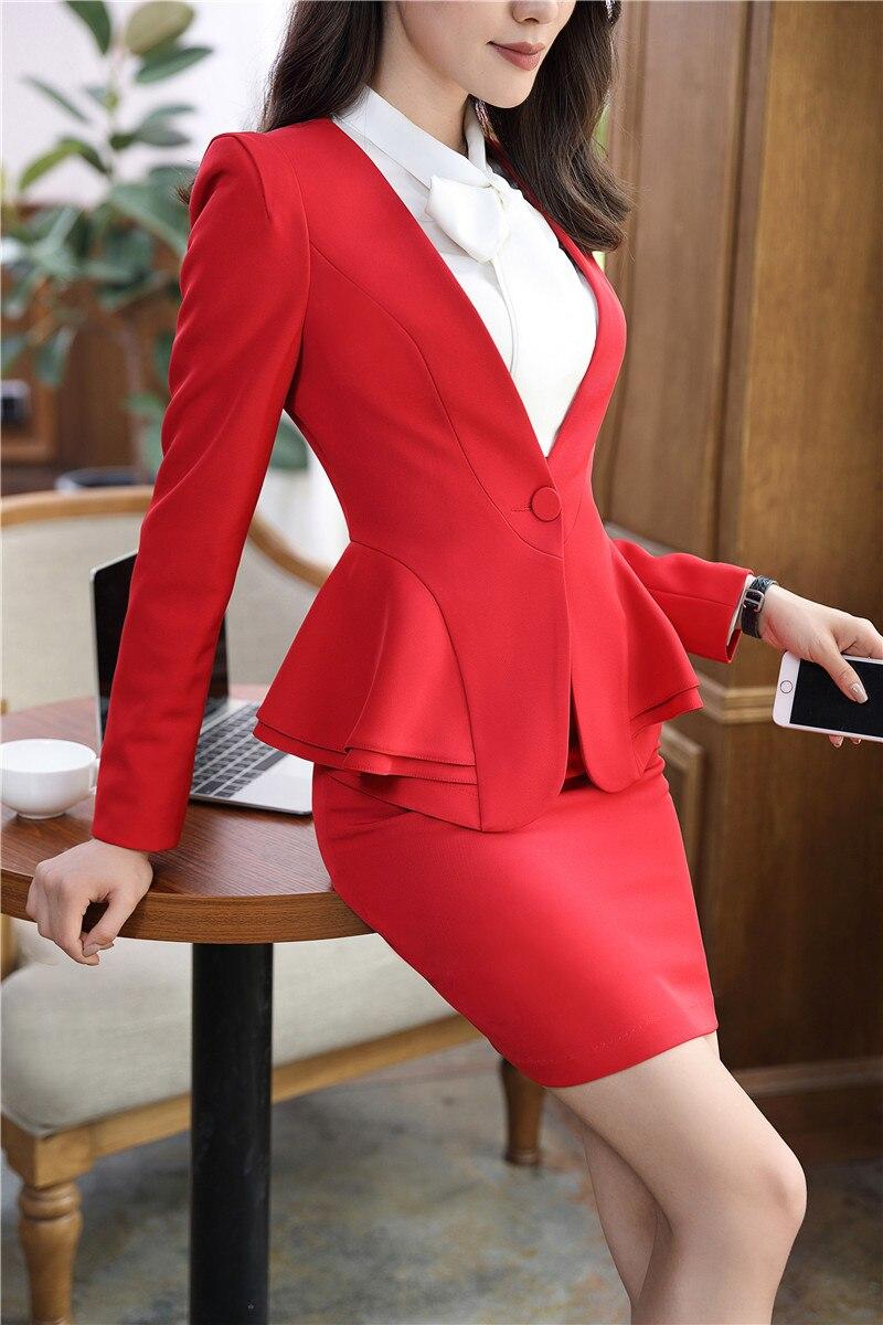 Abricot De Blazers Uniforme Survêtement noir Dames rouge Travail Élégant Femmes Vestes Hiver Formelle Costume Apricot Styles Veste Manteau 2018 wp1FqIznn