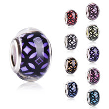 Assorted Color DIY Round Silver Plated Buckle Plastic Acrylic Bead Charm Big Hole for Pandora Jewelry Bracelet Necklace Chain(China)