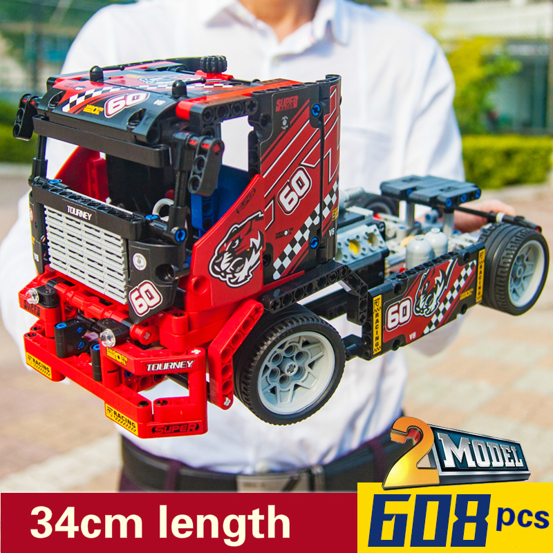 Oyuncaklar ve Hobi Ürünleri'ten Bloklar'de 608 adet Yarış Kamyon Araba Yapı Taşları Teknik 42041 Kamyon Modeli Setleri DIY Eğitim DIY Tuğla Oyuncaklar çocuklar için'da  Grup 1