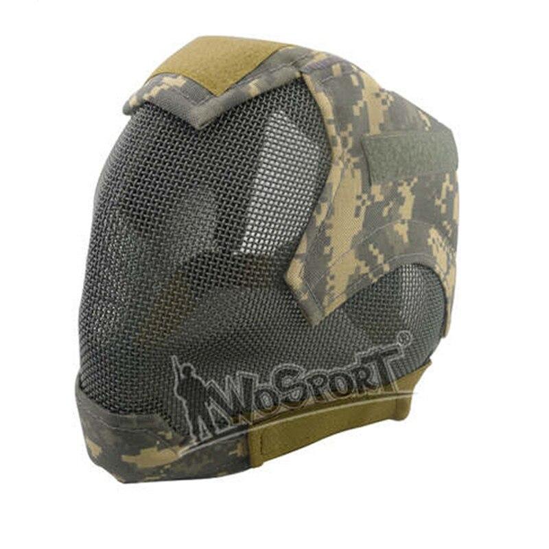 Wosport Paintballs Sports masque facial complet enveloppé protecteur militaire tactique Airsoft Paintball Protection maille acier masques faciaux