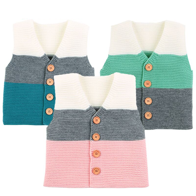 Jackets Cardigans Coats Newborn Infant Baby-Boys Sleeveless Knitwear Girls Cartoon Bear