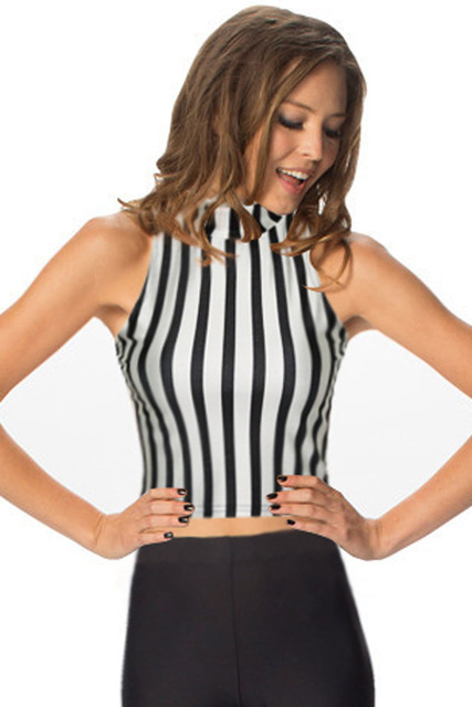 999b979a15036 2015 Fashion Summer Halter High Neck Crop Tops Sleeveless Sexy Slim Fit  Vest Tank Striped Turtleneck