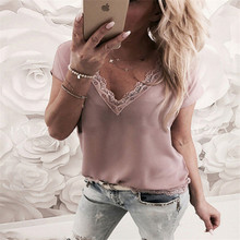 2019 Women Fashion T-Shirts Tops Summer Sexy V Neck Lace Casual Loose T-