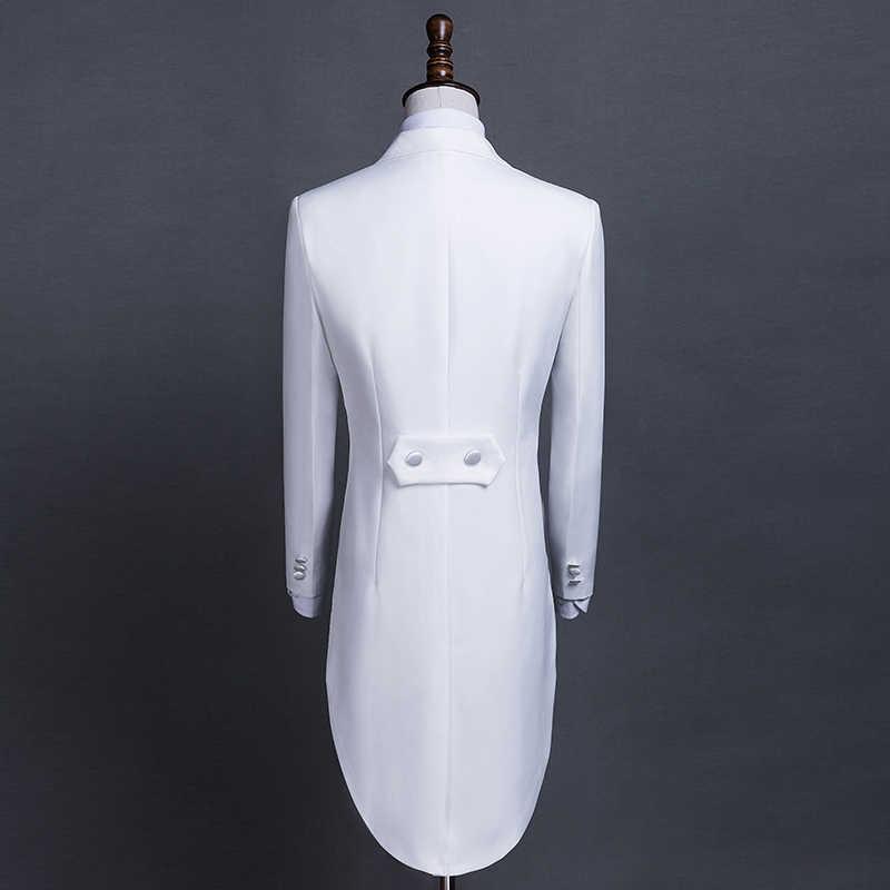 ブランド男性スーツ 2019 ウェディングスーツ 2 枚セットスリムフィットスーツメンズアゲハチョウのジャケット白タキシード男性と燕尾服刺繍