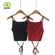 GOPLUS Summer Vintage Red Black Knitted Cropped Backless Tops Sexy Lace Up Camis Women Short Tops Slim Cami Party Crop Top Vest