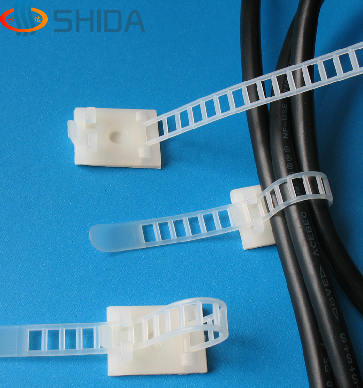 50PCS CL 2 White and Black Sticky Adjustable Wire Ties Cable Clips ...