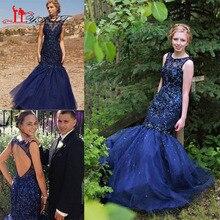 2017 neue Marineblau Prom Kleider Elegante Crew Neck Spitzeappliques Perlen Backless Elegante Vestidos De Fiesta Abendkleider