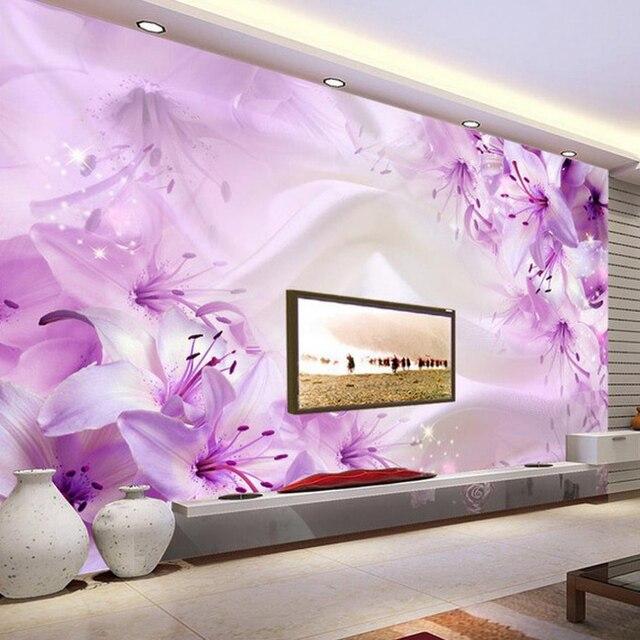 Romantic 3D Stereo Purple Flower Silk Wallpaper Living Room TV Sofa ...