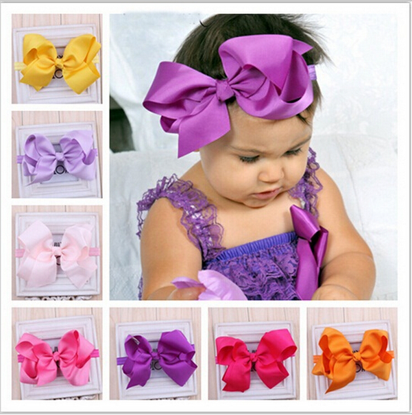 Headband Bebe Little Girl Candy Color Solid Big Bowknot Hair Band Kids Child Solid Hair Bow Hair Accessories 11Colors цена и фото