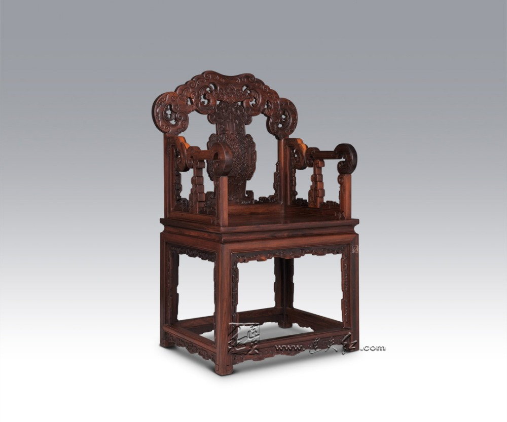Burma Rosewood Executive Chair Office Living Room Solid Wood Carving Furniture Flower Pattern Hotel Top grade Backed Lobby Chair
