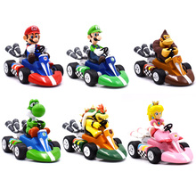 Anime Mario Bros Kart Pull Back Car Figures 13cm Luigi Yoshi Dinosaurs Donkey Kong Bowser Princess Toad PVC Figma