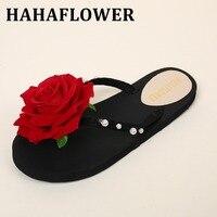 HAHAFLOWER Big Size 42 43 Women Slippers Summer Beach Female Shoes Fashion Girl Flip Flops Red