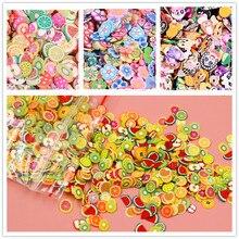 1000 шт Мягкие кусочки слизи, мягкие керамические фруктовые кусочки, смешанные для ногтей, украшения своими руками