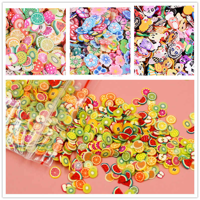1000 Pcs Soft Slime Slice Filling Soft Ceramic Fruit Piece Mixed for Slime Nail  Beauty DIY Decoration
