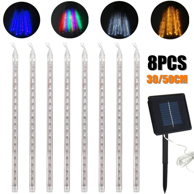 8 stcke 3050 cm led streifen glhbirnen dusche regen lichter solarbetriebene meteorschauer wasserdicht - Lampe Dusche Wasserdicht