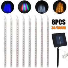 8PCS 30/50cm LED Strip Light Bulbs Shower Rain Lights Solar Powered Meteor Shower Waterproof Garden Light Lamp Decor