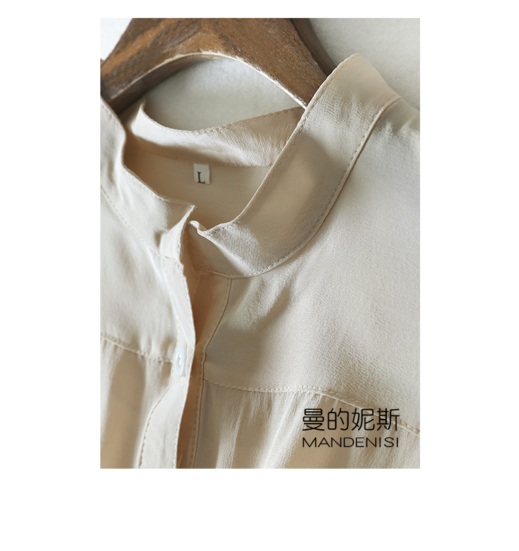 Image 4 - 2020 Spring and Autumn three quarter Sleeve Natural Silk Shirt office lady shirtBlouses