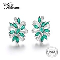 JewelryPalace Unique Design 2 1ct Green Created Emerald Clip On Earrings 925 Sterling Silver Jewelry