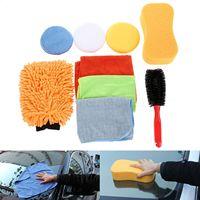 9Pcs Car Cleaing Tool Kit 3 Microfiber Towel 3 Applicator Pads Tire Brush Tyre Brush Sponge