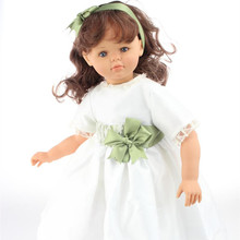 New Arrived 60CM Silicone Reborn Toddler Baby Doll Long Hair White dress With Blue or Brown Eyes Best Gift to Kids at NewYear