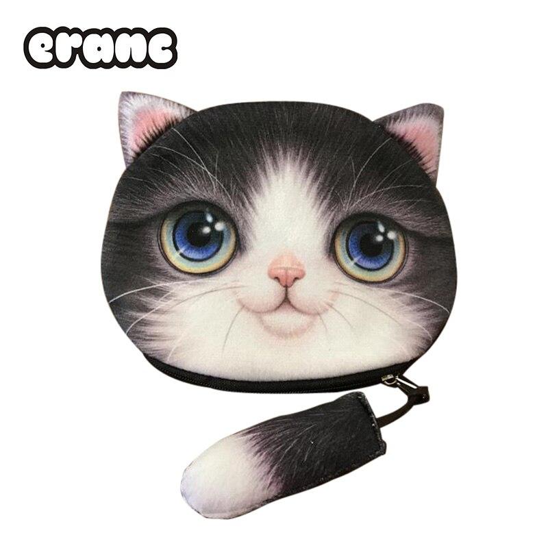 Wallet Case Lovely Cartoon Pouch Cute Zipper 3D Animal Coin Purse Cat Face