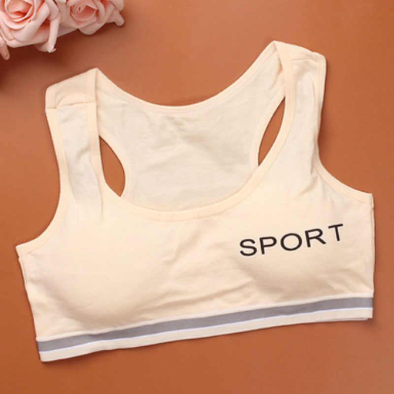 Новый спортивный бюстгальтер для девочек, нижнее белье из чистого хлопка для студентов, маленький жилет с широким плечом для детей, F0032