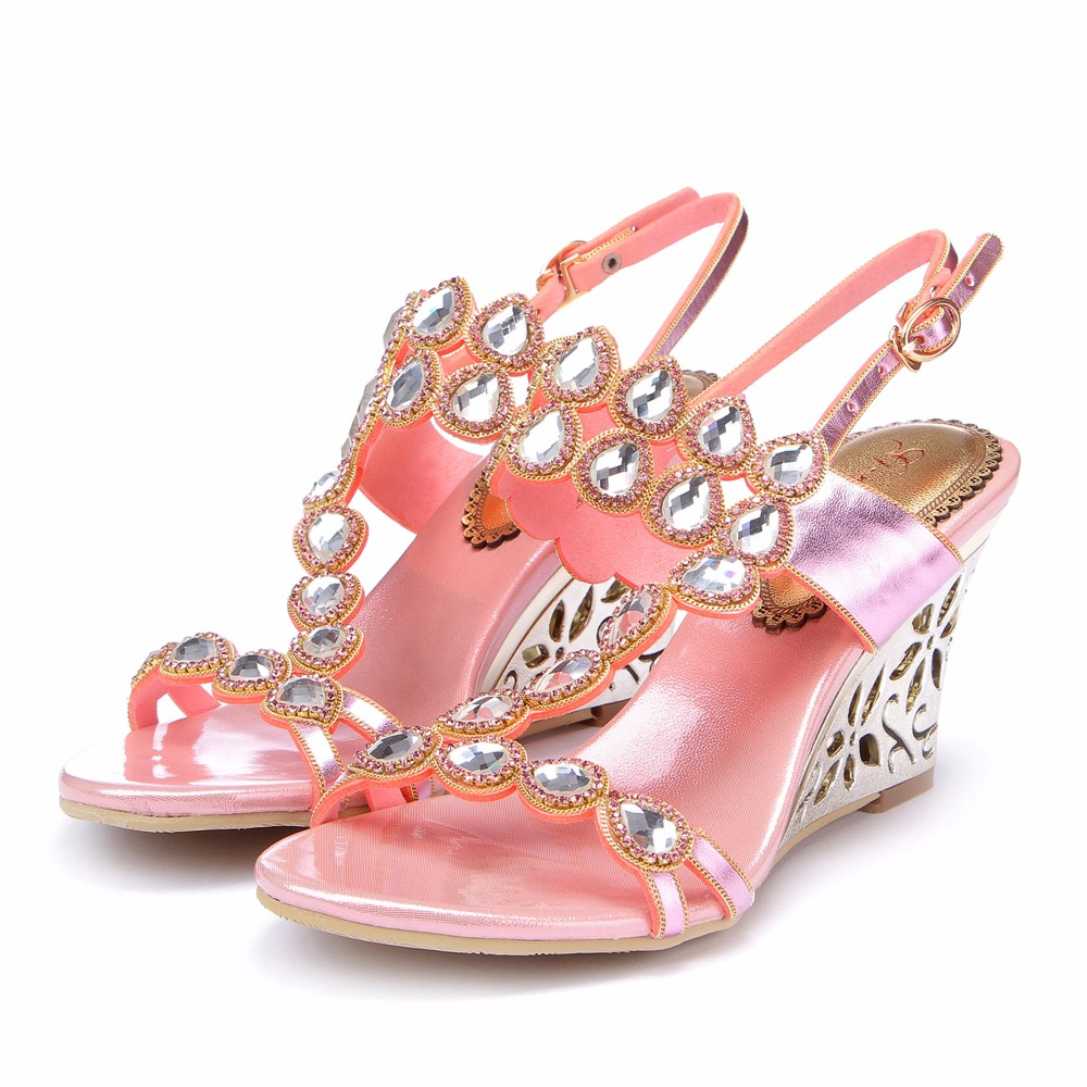 2017 Summer Sweet Girl Bohemian Pink Gemstone Crystal Sandals Wedges High Heels  Leather Sandals Peep Toe Woman Wedding Shoes