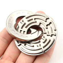 1PC Labyrinth IQ Mind Brain Teaser Educational Toy Metal Unlocked Maze Puzzle Gift Game For Children Kids size: 52x6mm(China)