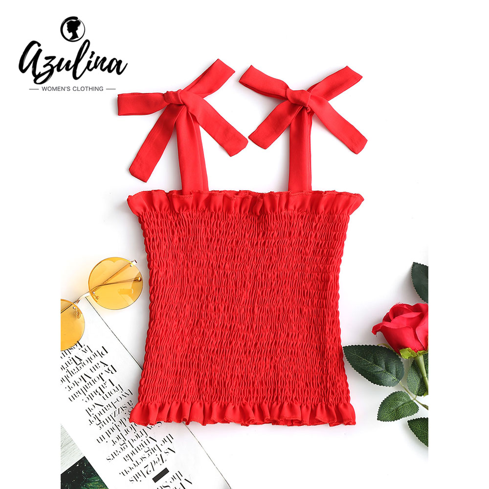 AZULINA Girls Clothes Smocked Tied Straps Tank Top Women Fashion Casual Square Neck Red Tops Fashion Cute Cotton Tank Tops S-L