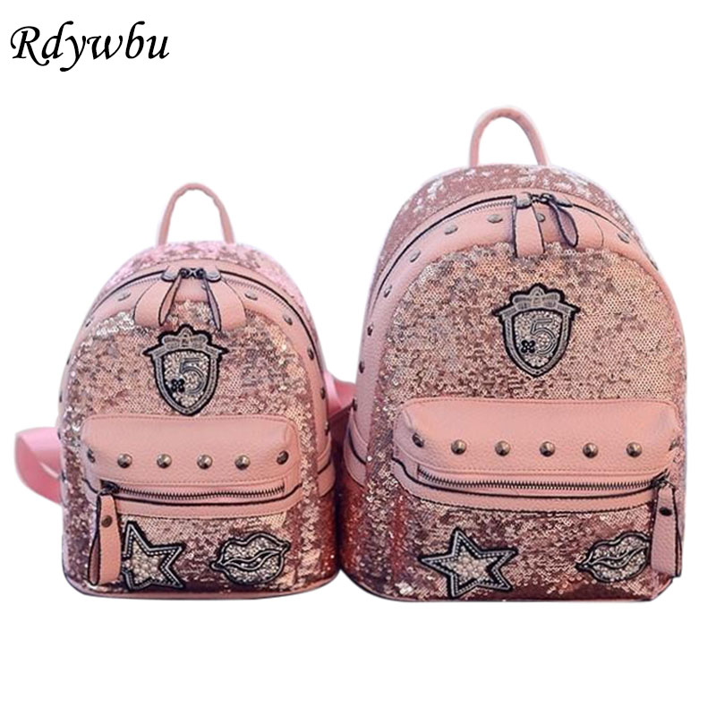 Rdywbu Glitter Bag Backpack Women Rivets Sequins Backpacks For Teenage Girls Rucksack Rhinestone Star Lips Badge Mochilas H101
