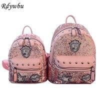 Rdywbu Glitter Bag Backpack Women Rivets Sequins Backpacks For Teenage Girls Rucksack Rhinestone Star Lips Badge