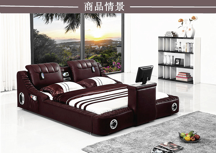 Real Genuine Leather Bed TV Soft Beds Bedroom Camas Lit Muebles De Dormitorio Yatak Mobilya Quarto Massage Speaker Bluetooth