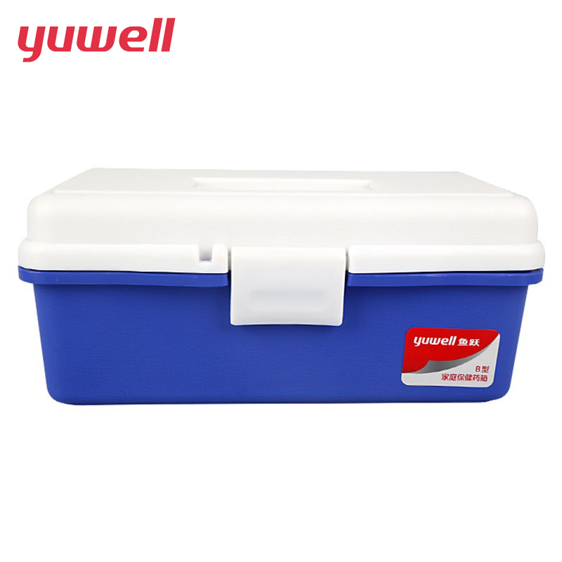 yuwell Red First Aid Clear Container Bin Family Emergency Kit Storage Box Detachable Tray Family Medicine Medical Storage Box locked safe home medical storage bag kit health care aid boxer plastic mini cipher medicine box drug collection with password