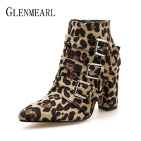 Women Boots Ankle Leopard Winter Shoes High Heels Martin Boots Buckle Zip Pointed Toe Sexy Woman Party Shoes New Arrival 2018 DE