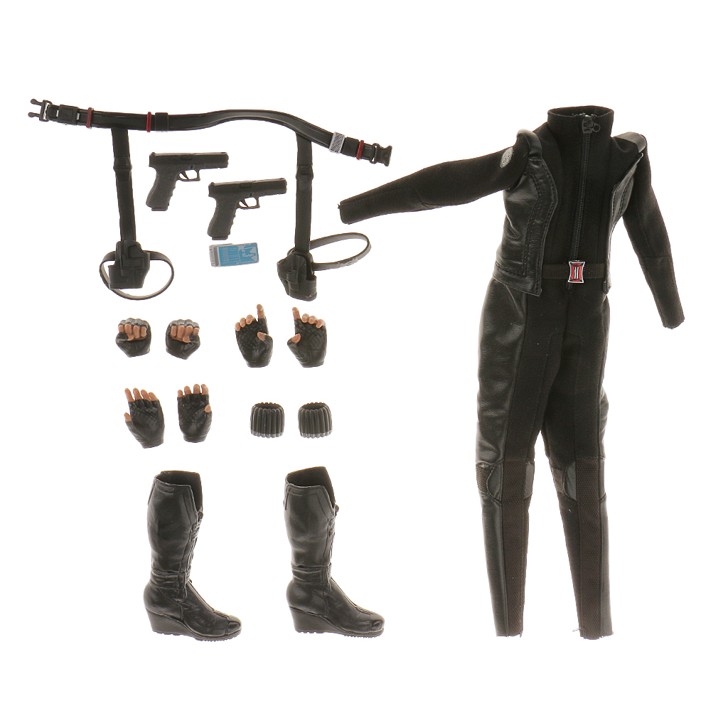 Hot Sale 1/6 Scale Female Black Bodysuit Boots Clothing Set Kit With Extra Hands Action Toy Clothing Accessory Decoration Gift hot sale extra door