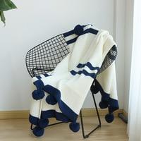 New Fashion High Quality White Navy Blue Stripe Acrylic Blanket Handmade Pompon Decro Yarn Knitted Blanket