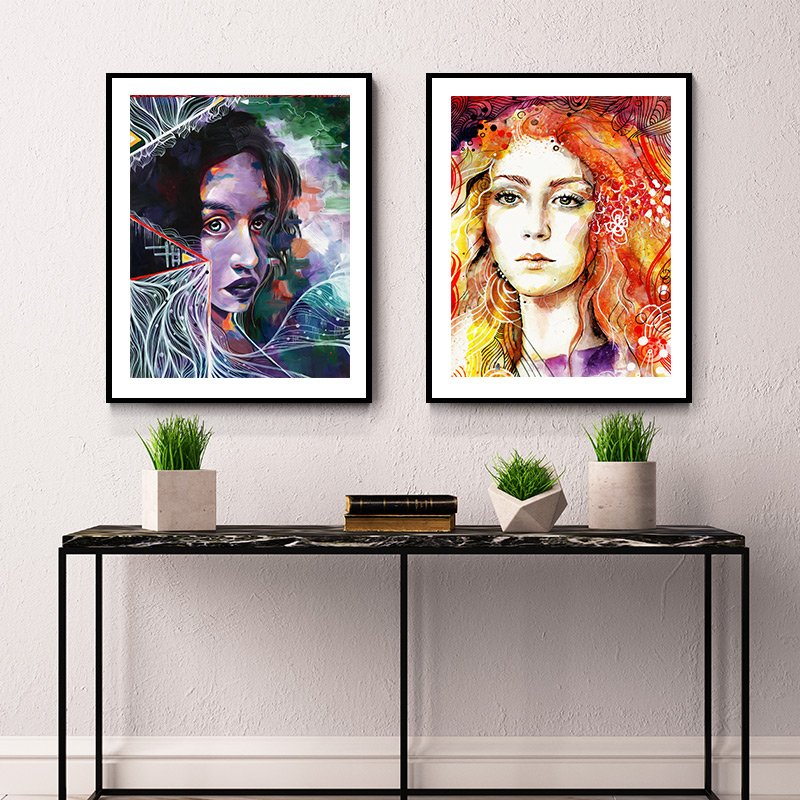 Watercolor Poster And Print Weird Anime Canvas Painting Heavy Metal ...