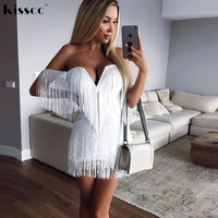 Sexy Tassel Strapless Hollow Out White Dress Open Back Off Shoulder Party Dress V Neck Low