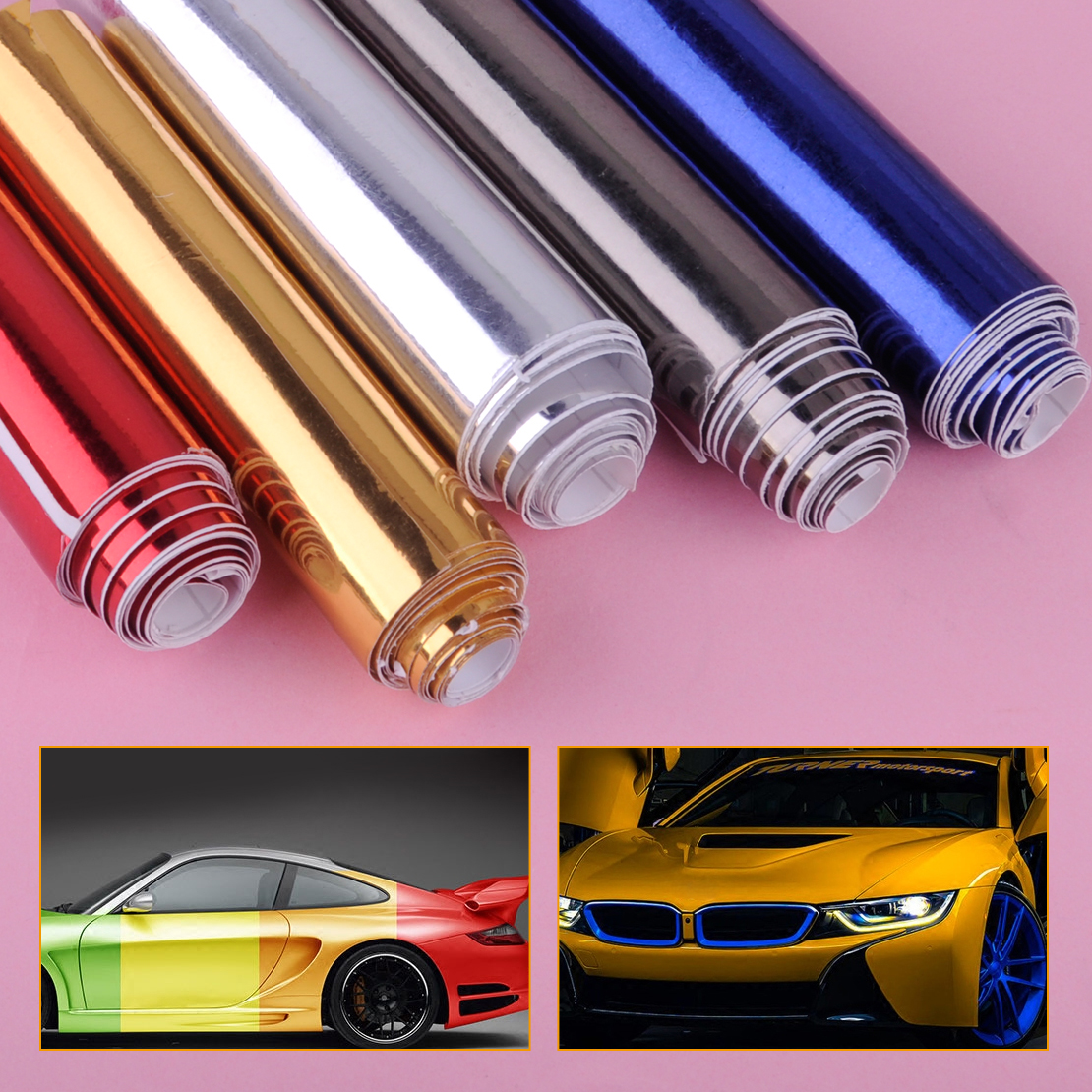 DWCX Car Styling 150cmx15cm Auto Glossy Chrome Mirror Vinyl Wrap Film Roll Sheet Sticker Fit for VW Audi BMW Honda Hyundai Ford car floor mats covers free shipping 5d for toyota honda for nissan hyundai buick for ford audi benz for bmw car etc styling