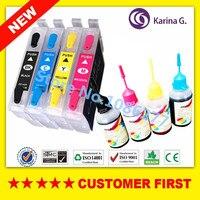 1 conjunto do cartucho De Tinta Recarregáveis + 1 conjunto de tinta Corante para T0551 para Impressora Epson RX420 RX425 RX520 R240 R245 impressora com ARC fichas