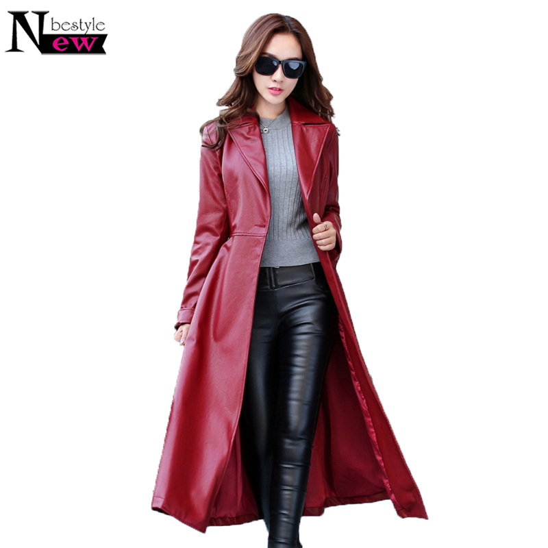 Fashion Long   Leather   Coat Female 2019 Autumn Women's High-grade PU   Leather   Jacket Solid Color Casual Windbreaker Long Jackets