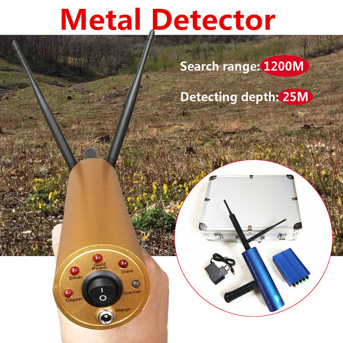 Professtional Metro Gold Metal Detector 1200 M Long Range Busca Tesouro Localizador Rastreador do Scanner Metal Detector Circuito
