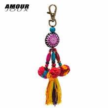 Оригинальный дизайн помпон шарики Длинный Шарм с цветной деревянной