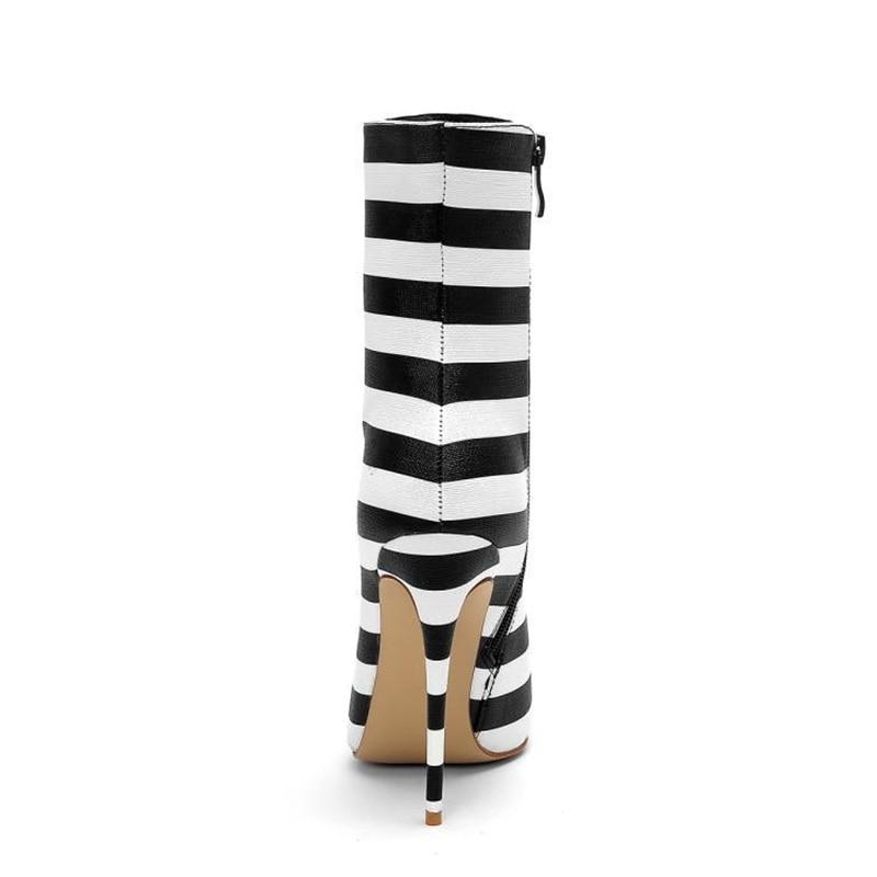 À chaussures Cheville Hauts Dames Bottes Nouveau De Femmes Taille As Chaussures Talons Mode Rivet Chaussons Haute Grande Super Pointu Rayé Picture Pw4wIAqx6