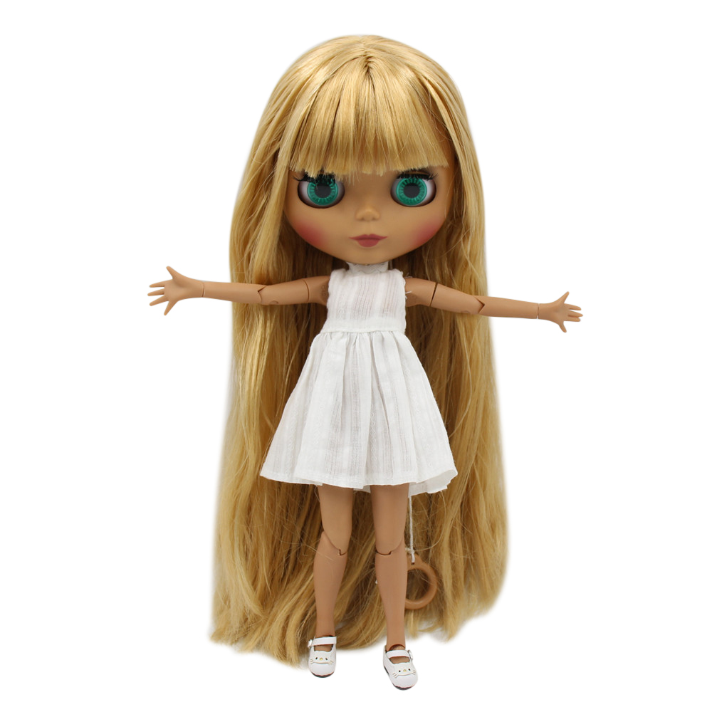 1 6 ICY Nude Factory Blyth doll Black Matte face Joint body Blonde straight hair No
