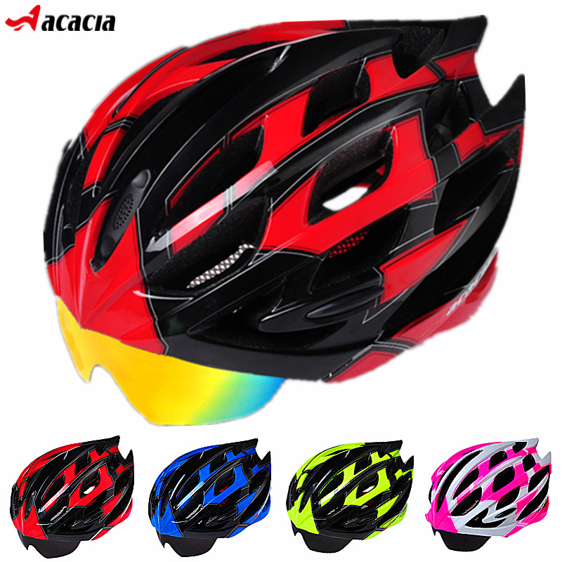 2017 High-Grade Bicycle Helmet+Eyewear Ultralight Road Cycling Safety Helmet Mountain Bike Helmet Glasses With 3 Lenses 5 Colors universal bike bicycle motorcycle helmet mount accessories