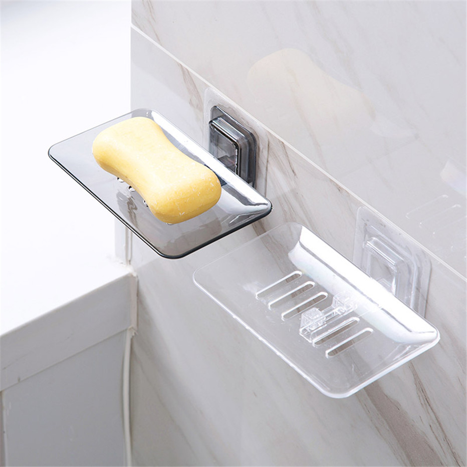 Soap Dishes Drain Sponge Holder Bathroom Organizer Wall Mounted Storage Rack Soap Box Kitchen Hanging Shelf2