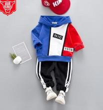 Cartoon Color Block Baby Suits 2019 Spring Fashion Korean Children Hoodie+pant 2Pcs Set Boy Girls for 1-4 Y SY-F191219